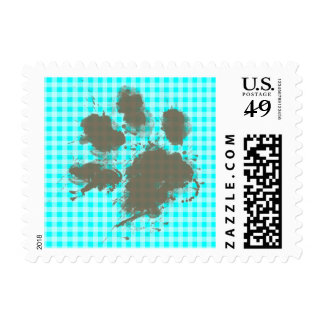 Funny Pawprint on Cyan Gingham; Checkered Postage
