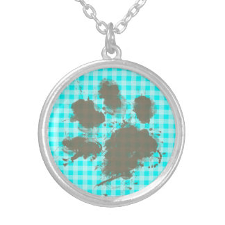 Funny Pawprint on Cyan Gingham; Checkered Round Pendant Necklace