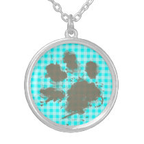 Funny Pawprint on Cyan Gingham; Checkered Silver Plated Necklace