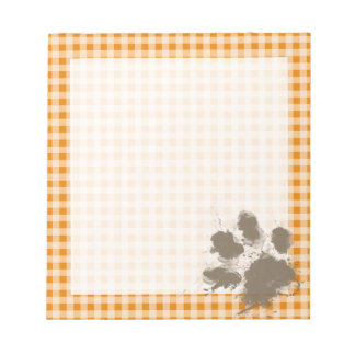 Funny Pawprint on Dark Orange Gingham Notepad