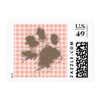 Funny Pawprint on Deep Peach Gingham Postage Stamps