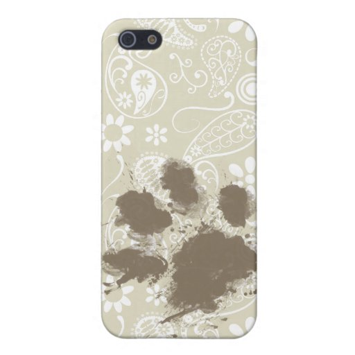 Funny Pawprint on Ecru Paisley iPhone 5 Cases