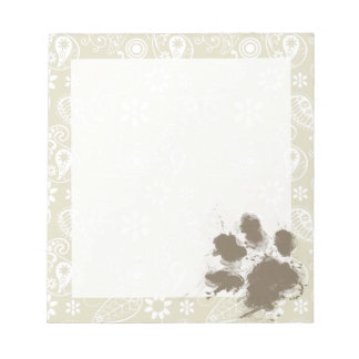 Funny Pawprint on Ecru Paisley Notepad