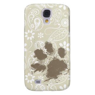 Funny Pawprint on Ecru Paisley Samsung S4 Case