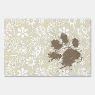Funny Pawprint on Ecru Paisley Lawn Signs