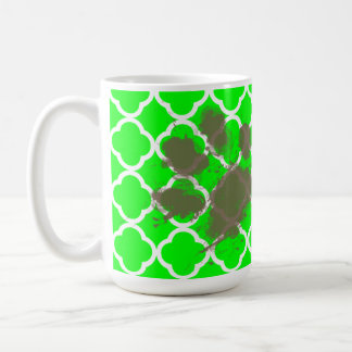 Funny Pawprint on Electric Green Quatrefoil Coffee Mug