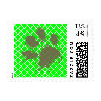 Funny Pawprint on Electric Green Quatrefoil Stamps