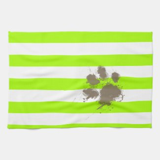 Funny Pawprint on Electric Lime Green Stripes Kitchen Towel