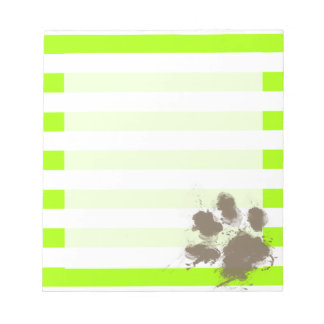 Funny Pawprint on Electric Lime Green Stripes Note Pad