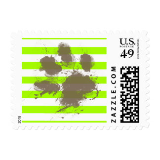 Funny Pawprint on Electric Lime Green Stripes Stamp