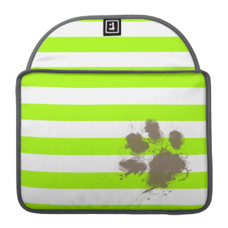 Funny Pawprint on Electric Lime Green Stripes Sleeve For MacBook Pro