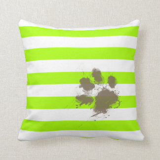 Funny Pawprint on Electric Lime Green Stripes Throw Pillows