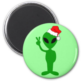 Funny peace alien santa 2 inch round magnet