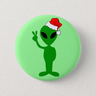Funny peace alien santa pinback button