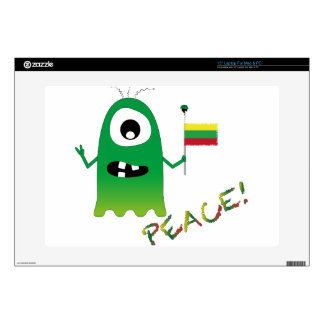 """Funny Peace Alien With a Flag of Lithuania 15"""" Laptop Skin"""