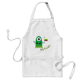 Funny Peace Alien With a Flag of Lithuania Apron