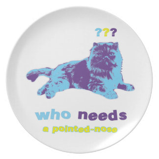 Funny Peak Nose Persian Cat Theme Melamine Plate
