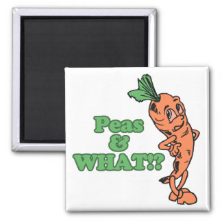 funny peas and what worried carrot 2 inch square magnet