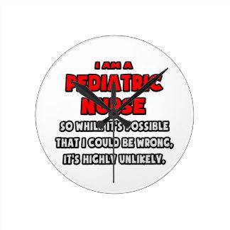 Funny Pediatric Nurse .. Highly Unlikely Wall Clock