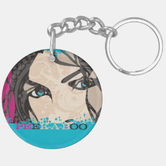 Funny peek-a-boo i see you womans face eyes keychain
