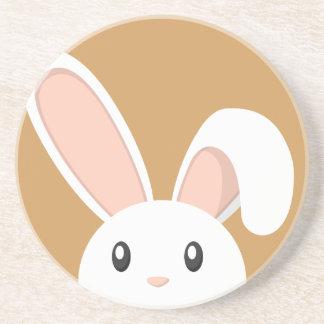 Funny Peeping Easter Bunny Sandstone Coaster