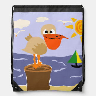 Funny Pelican at the Beach Art Drawstring Bag
