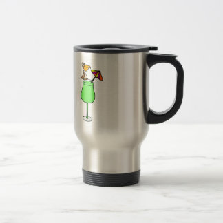 Funny Pelican Sitting on Tropical Drink Travel Mug
