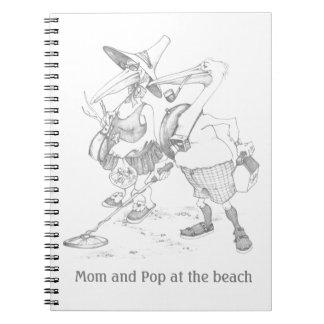 funny pelican tourist beach Mom Pop birds Notebook