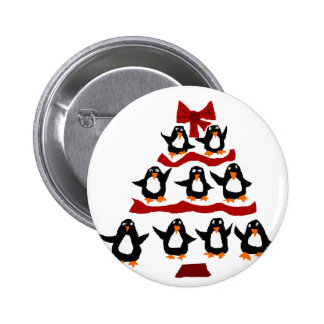 Funny Penguin Art Christmas Tree 2 Inch Round Button
