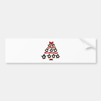 Funny Penguin Art Christmas Tree Bumper Sticker