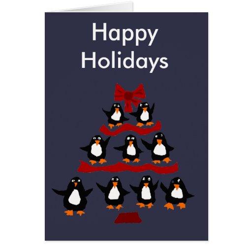 Funny penguin art christmas tree greeting card zazzle for Penguin christmas cards homemade