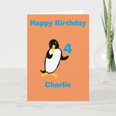 Penguin Birthday Card Add Name Zazzle