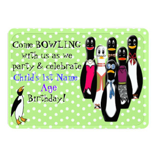 Funny Penguin Bowling Birthday Party Personalized Card