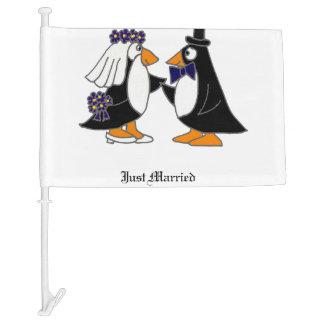 Funny Penguin Bride and Groom Wedding Car Flag
