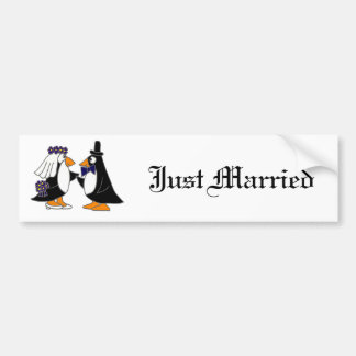 Funny Penguin Bride and Groom Wedding Cartoon Bumper Sticker