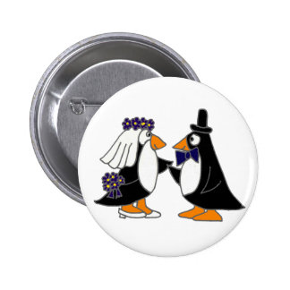 Funny Penguin Bride and Groom Wedding Cartoon Buttons