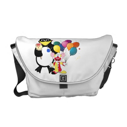 Funny penguin & clown cartoon commuter bag