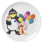 Funny penguin & clown cartoon dinner plates