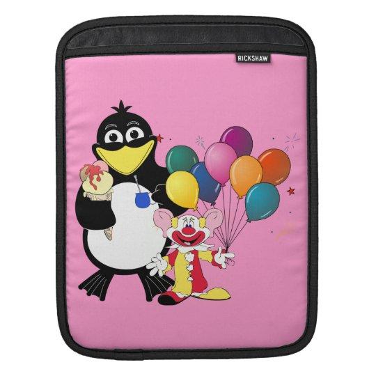 Funny penguin & clown cartoon iPad sleeve
