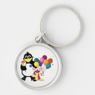 Funny penguin & clown cartoon keychain