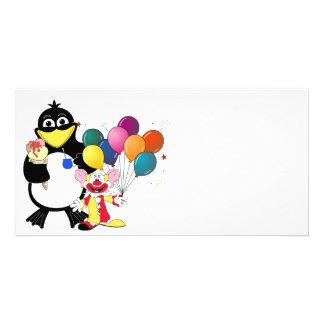 Funny penguin & clown cartoon customized photo card