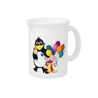 Funny penguin & clown cartoon drink pitcher