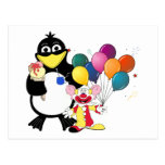 Funny penguin & clown cartoon postcard