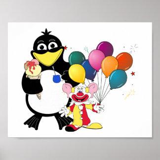 Funny penguin & clown cartoon poster