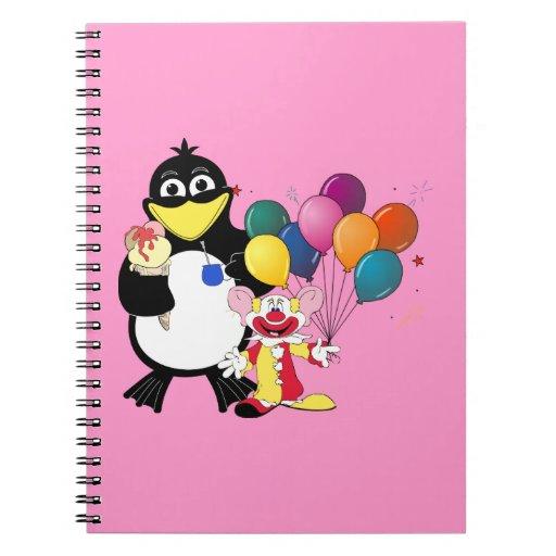 Funny penguin & clown cartoon spiral note book