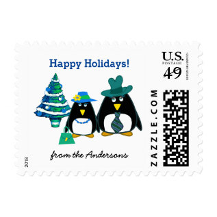Funny Penguin Couple Christmas Postage Stamps at Zazzle