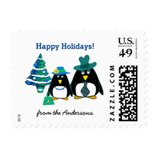 Funny Penguin Couple Christmas Postage Stamps