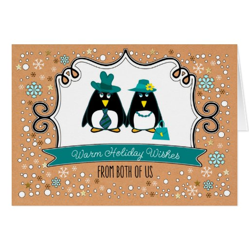 Funny penguin couple custom christmas cards zazzle for Penguin christmas cards homemade