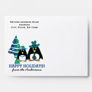 Funny Penguin Couple Custom Christmas Envelopes