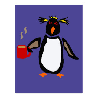 Funny Penguin Drinking Coffee Postcard